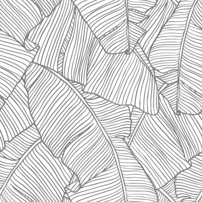 Papel de Parede Folhas de Palmeira (Cinza)