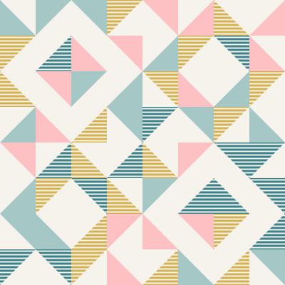 Papel De Parede Retrô Quadrados Abstratos Rosa e Azul