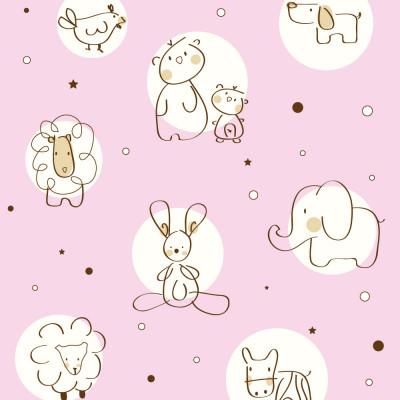 Papel de Parede Infantil Animais (Rosa)