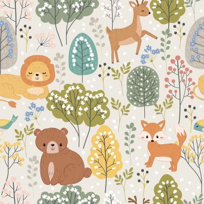 Papel De Parede Infantil Floresta Animais