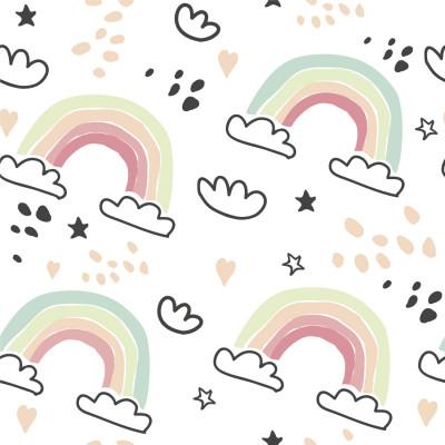 Papel De Parede Infantil Desenho Arco-Íris