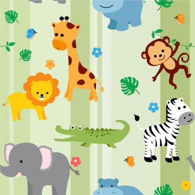Papel De Parede Infantil Animais Safári Baby