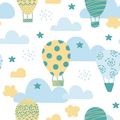 Papel de Parede Balões e Nuvens Azul e Amarelo