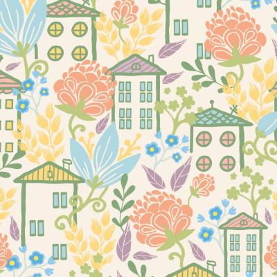Papel De Parede Infantil Casinhas Floral