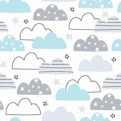 Papel de Parede Infantil Nuvens e Estrelas