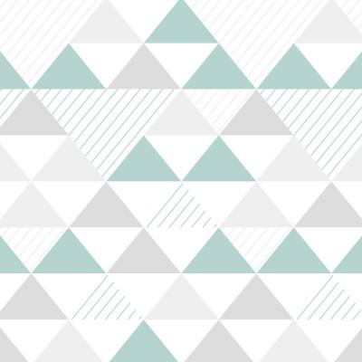 Papel de Parede Infantil Triângulos (Tons de Cinza e Verde)