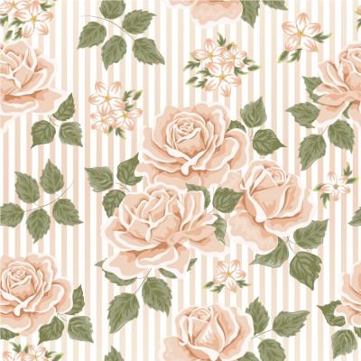 Papel de Parede Listrado Rosas