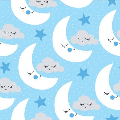 Papel de Parede Infantil Lua e Nuvens (Fundo Azul Bebê)