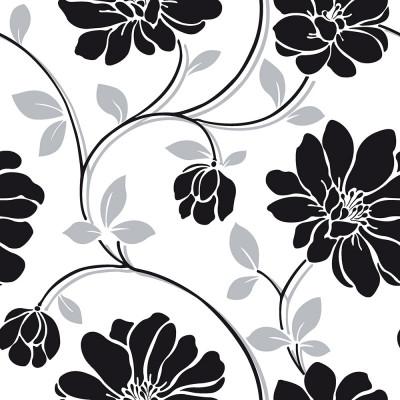 Papel de Parede Floral Preto & Branco - Corium - Rolo com 10 Metros