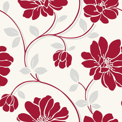 Papel de Parede Floral Vermelho - Corium - Rolo com 10 Metros