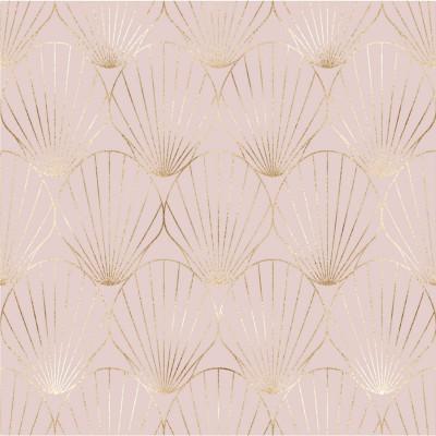 Papel de Parede Rose Gold com Linhas Metalizadas