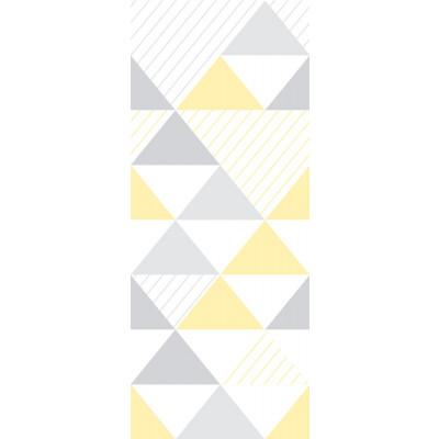 Papel de Parede Infantil Triângulos (Tons de Cinza e Amarelo - Padrão Grande)