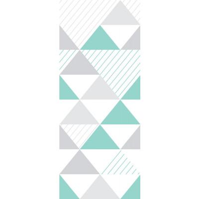 Papel de Parede Infantil Triângulos (Tons de Cinza e Verde - Padrão Grande)