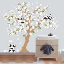 Adesivo de Parede Árvore Pandas - Flores Brancas