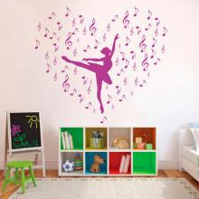 Adesivo de Parede Bailarina com Notas Musicais