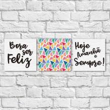 """Conjunto de Quadros Decorativos """"Bora ser Feliz II"""" (Em Canvas)"""