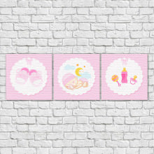 Conjunto de Quadros Decorativos Infantil Bebê Dorminhoco Rosa
