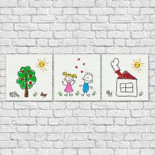 Conjunto de Quadros Decorativos Infantis Desenho de Crianças