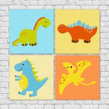 Conjunto de Quadros Decorativos Infantil Dinossauros - Em Canvas