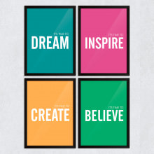 "Conjunto de Quadros Decorativos ""It's Time To Dream, Inspire, Create and Believe"""