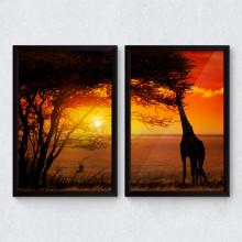 Conjunto de Quadros Decorativos Por do Sol - Savana