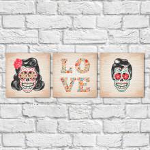 Conjunto de Quadros Decorativos Casal Caveira Mexicana - Em Canvas