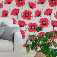 Papel de Parede Flores Vermelhas
