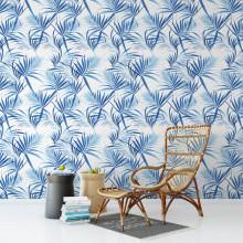 Papel de Parede Folhas Tropicais Azuis