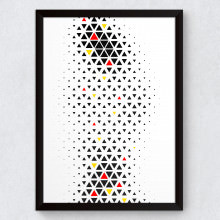 Quadro Decorativo Abstrato Mini Triângulos Vertical