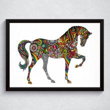 Quadro Decorativo Cavalo Floral