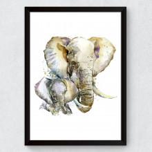 Quadro Decorativo Elefantes Aquarela
