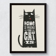 "Quadro Decorativo ""Home is Where The Cat Is"""