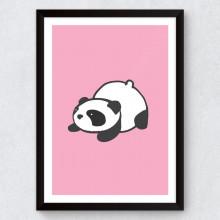 Quadro Decorativo Infantil Panda (Fundo Rosa)