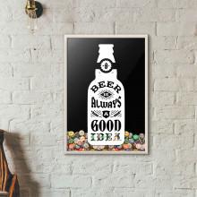 """Quadro Porta Tampinhas de Cerveja - """"Beer Is Always a Good Idea"""" (Moldura Branca)"""