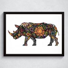 Quadro Decorativo Rinoceronte Floral
