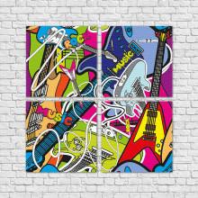 Conjunto de Quadros Decorativos Rock - Em Canvas