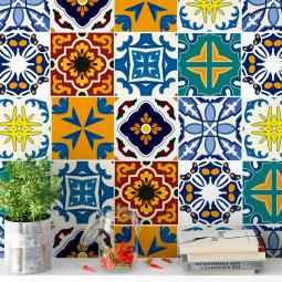 Adesivo para Azulejo Português Hidráulico Misto azul amarelo