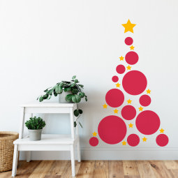 Adesivo de Parede Árvore de Natal Abstrata Bolas e Estrelas