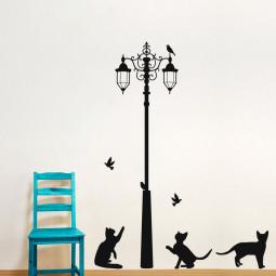 Adesivo de Parede Gatos, Pássaros e Poste