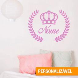 Adesivo de Parede Coroa + Nome Personalizado