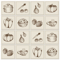 Adesivo para Azulejo Português Hidráulico Cozinha Alimentos Legumes Panela
