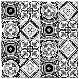 Adesivo para Azulejo Português Hidráulico Preto e Branco