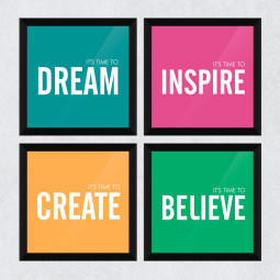 "Conjunto de Quadrinhos Decorativos ""It's Time To Dream, Inspire, Create and Believe"""