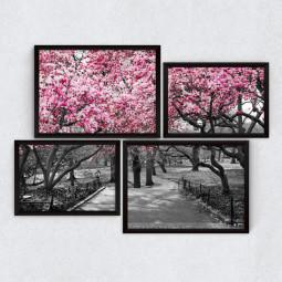 Conjuntos de Quadros Decorativos Assimétrico Árvore Rosa