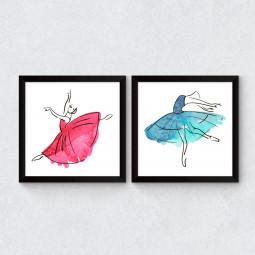 Conjunto de Quadrinhos Decorativos Ballet