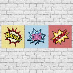 Conjunto de Quadros Decorativos Bang Boom OMG - Em Canvas