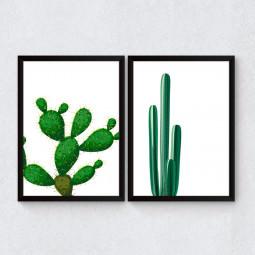 Conjunto de Quadros Decorativos Dupla de Cactos
