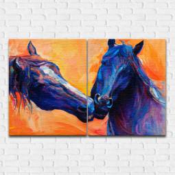 Conjunto de Quadros Decorativos Cavalos - Em Canvas