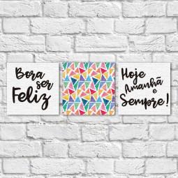 """Conjunto de Quadros Decorativos """"Bora ser Feliz II"""" - Em Canvas"""