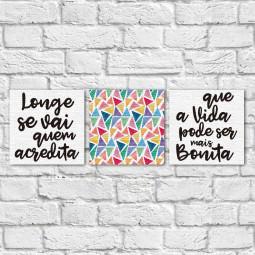 "Conjunto de Quadros Decorativos ""Longe se Vai II"" - Em Canvas"